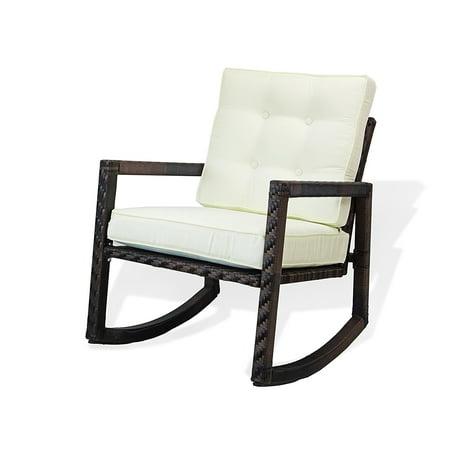 SK New Interiors Resin Outdoor Garden Rocking Chair w/cushion Deck Yard Patio Wicker, Dark Brown ()