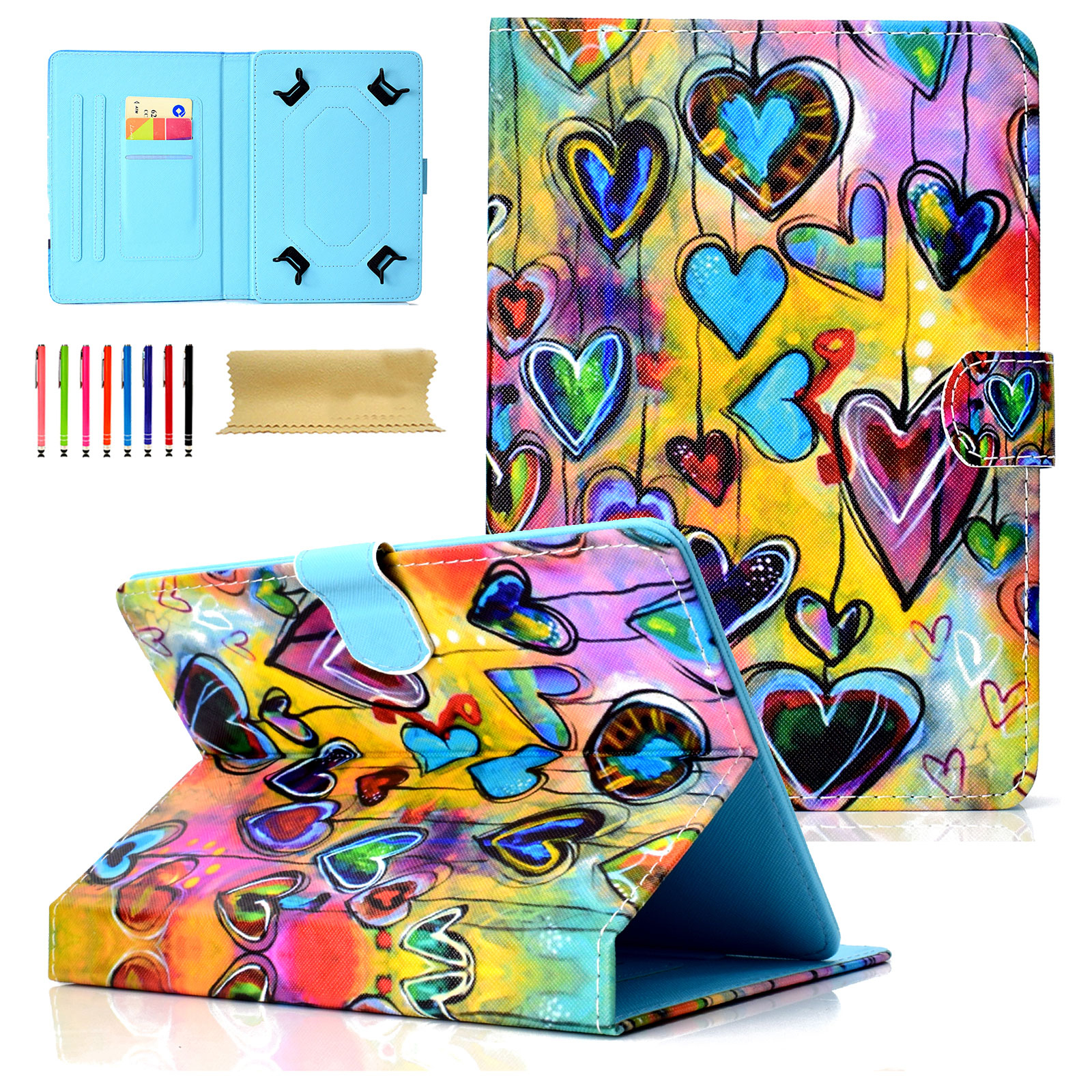 """Goodest Universal 8 Inch Tablet Case, Slim Fit Folio Protective Stand Wallet Cover for 7.5-8.5"""" Tablet 8"""" Touchscreen/iPad Mini/Galaxy Tab A/Fire HD 8/RCA/Chrome Nextbook iView, Hearts"""