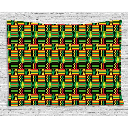 Kente Pattern Tapestry, Tribal Kenya Nigeria Design with Lively Cultural Colors Abstract Traditional, Wall Hanging for Bedroom Living Room Dorm Decor, 60W X 40L Inches, Multicolor, by Ambesonne