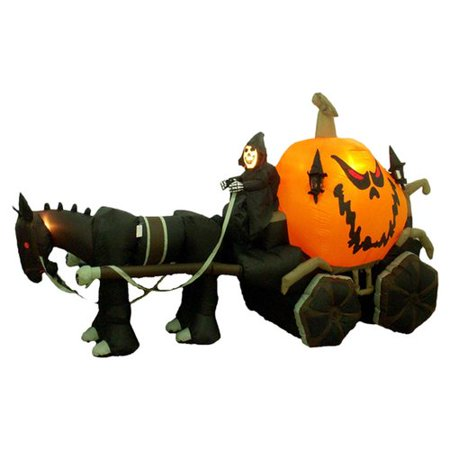 The Holiday Aisle Halloween Inflatable Skeleton Ghost Driving Carriage Decoration (Clearance Halloween Inflatables)