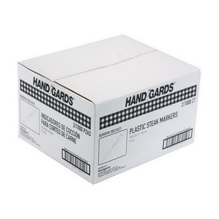 (Price/Case)Handgards 305210223 Plastic Steak Marker Pink Medium Rare 2-1000