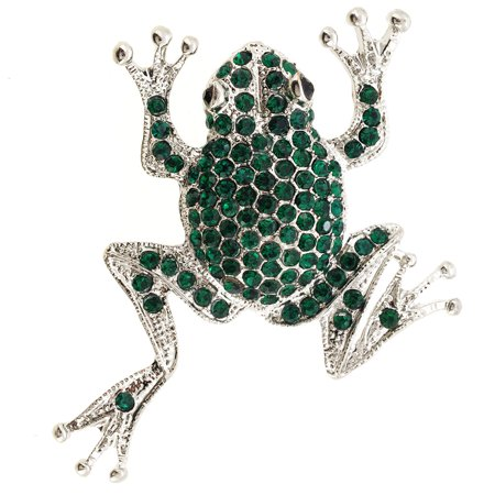 Emerald Green Crystal Frog Pin