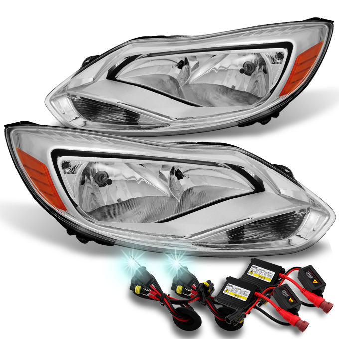 Fit 2012 2013 2014 Ford Focus LH + RH Side Headlights Assembly + 8000K HID