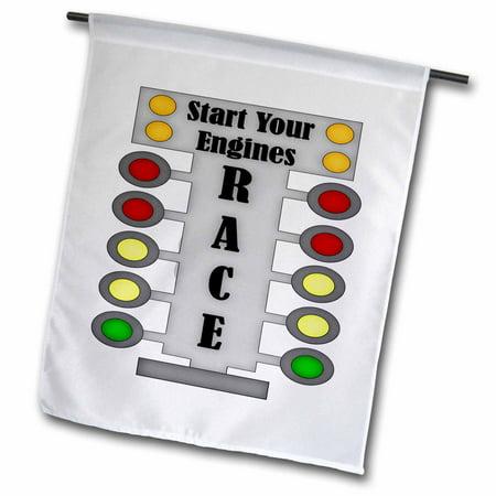 3dRose Car Race Start Your Engine Sign - Garden Flag, 12 by 18-inch - Racecar Flag