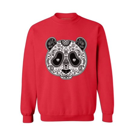 Awkward Styles Panda Skull Sweatshirt Dia de los Muertos Gifts Skull Clothing Sugar Skull Sweater for Women Day of the Dead Outfit Skull Sweatshirt for Men Gifts for Panda Lovers Animal Skull Jumper (Panda Onesie For Men)