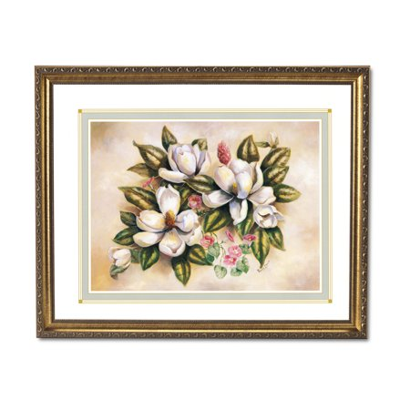 Magnolias Morning Glory Flowers II Floral Home Wall Picture Gold Framed Art (Growing Morning Glory Flowers)