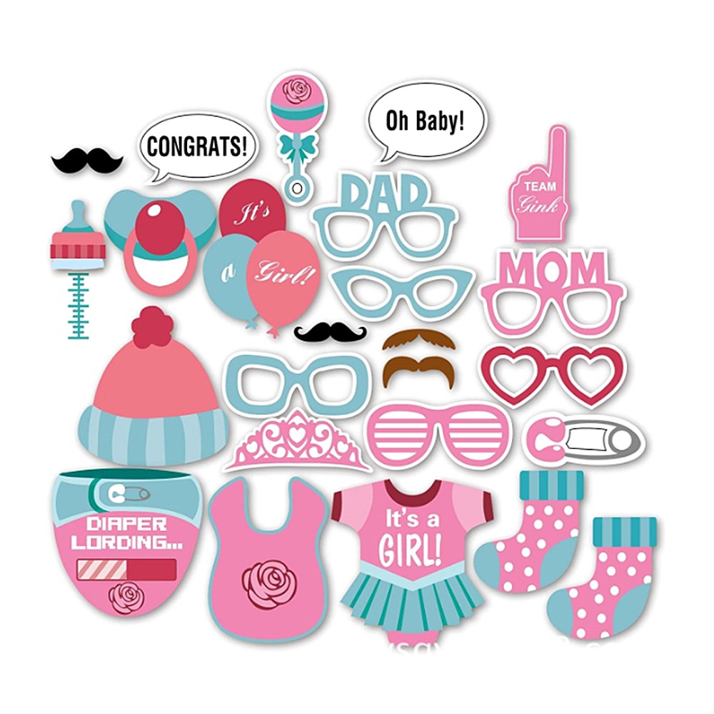 Peralng Itu0027s A Girl Baby Shower Party Photo Booth Props Kits On Sticks Set  Of 25pcs