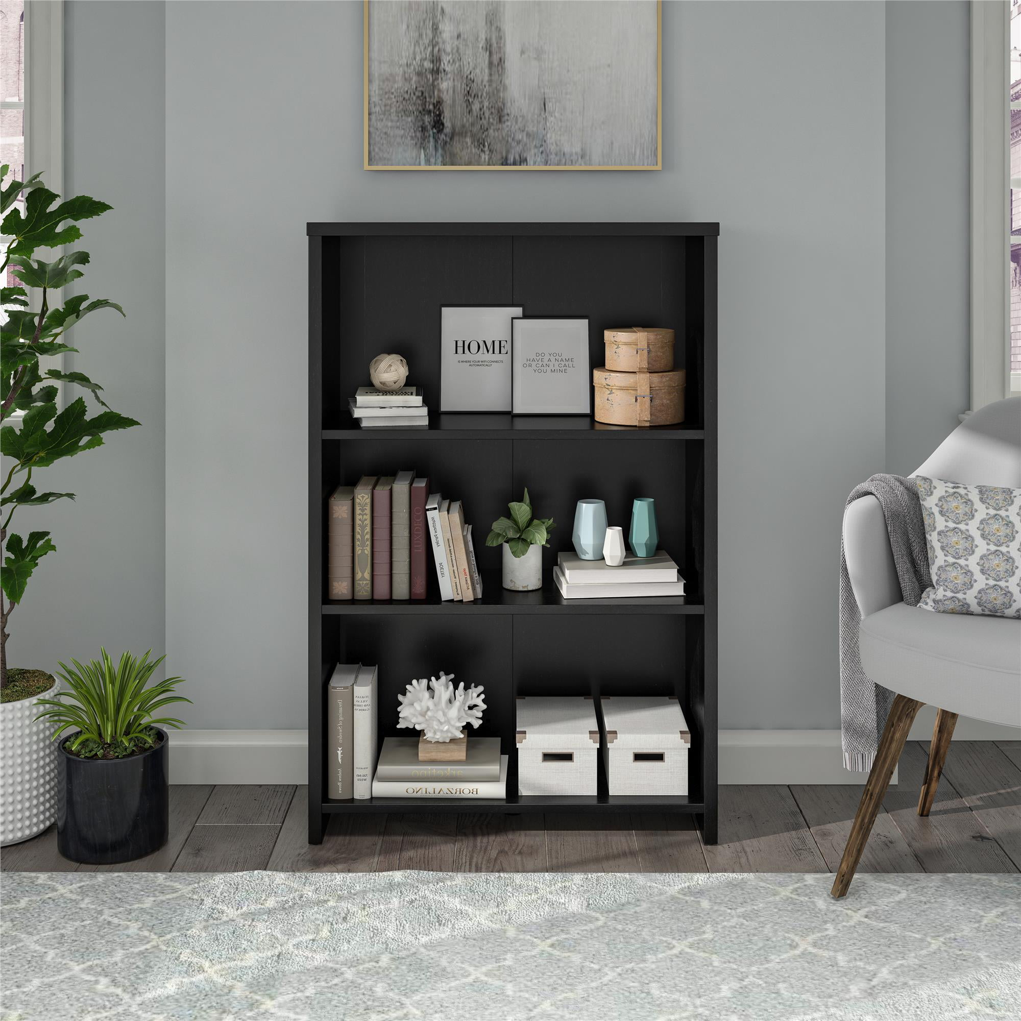 mainstays heritage 3 shelf bookcase black oak walmart com