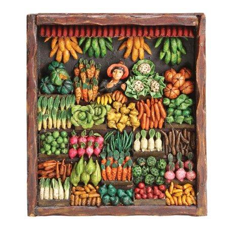 Retablo Frame Vegetable Market Handcrafted Wooden Wall Art