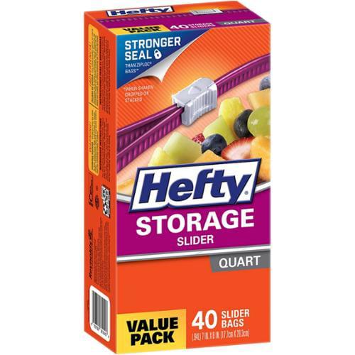 Hefty Quart Size Storage Slider Bags 40 ea (Pack of 2)