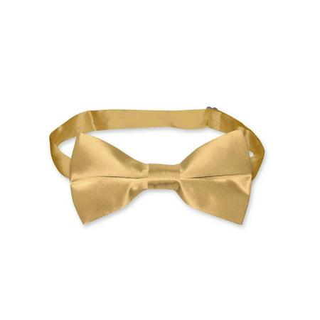 Discount Silk Ties - BIAGIO 100% SILK BOWTIE Solid GOLD Color Men's Bow Tie for Tuxedo or Suit
