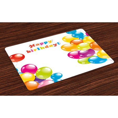 Birthday Placemats Set of 4 Colorful Festive Mood Flying Party Balloons in Surprise Happy Occasion Set Up, Washable Fabric Place Mats for Dining Room Kitchen Table Decor,Multicolor, by Ambesonne - Candy Table Setup