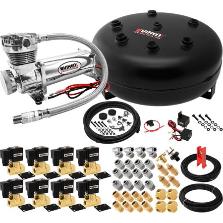 Vixen Air 4 Gallon (15 Liter) Pancake Air Tank with 200 PSI Chrome  Compressor, Valves, Fittings and Hoses Suspension Onboard System/Kit  VXX3805H/4840C