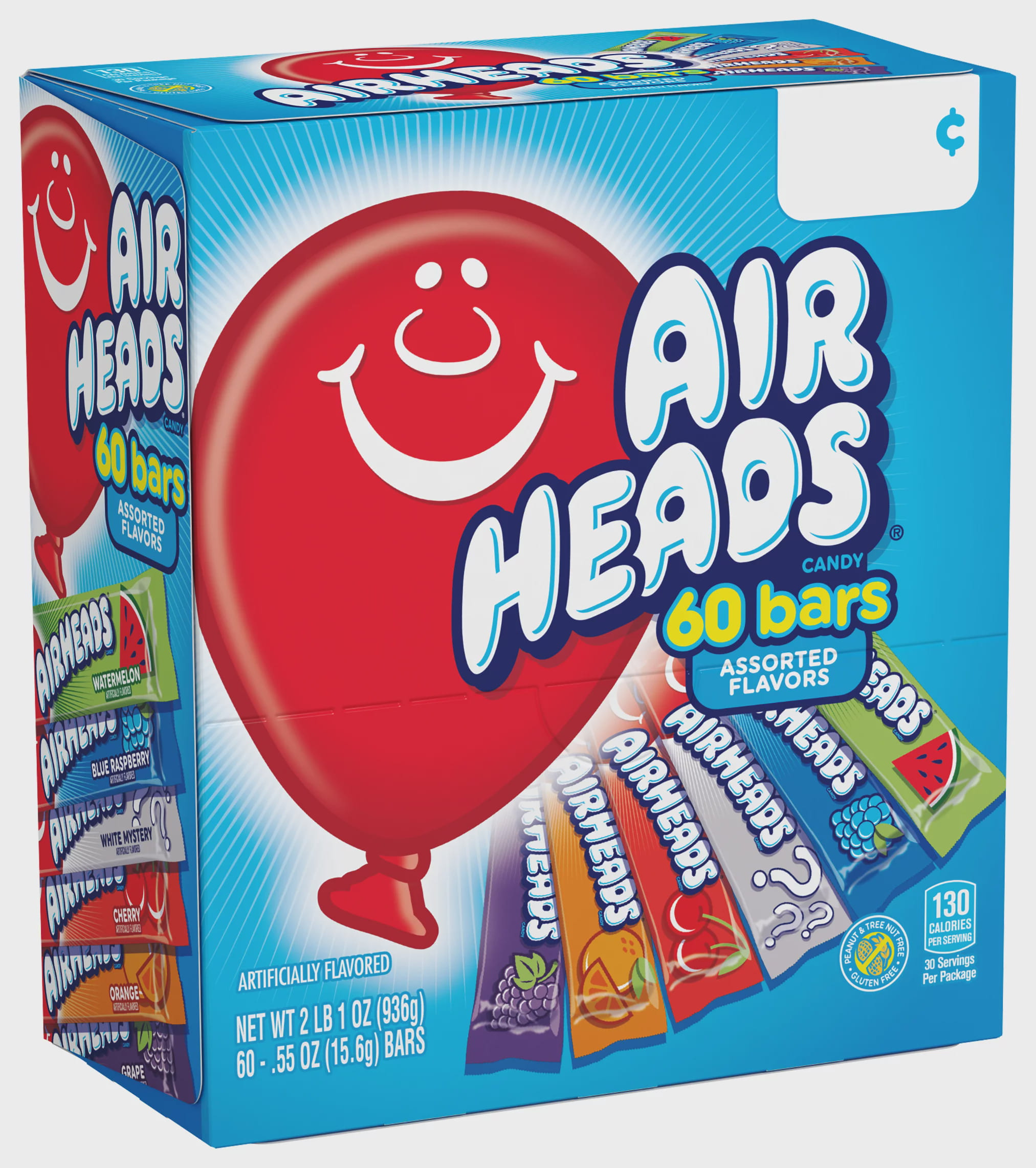 Airheads Candy Variety Gravity Feed Box 60 Individually Wrapped Assorted Fruit Bar Walmart Com Walmart Com