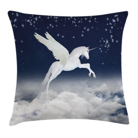 Fantasy Throw Pillow Cushion Cover, Legendary Unicorn Flying over Clouds Novelty and Purity Icon Magic Creature Image, Decorative Square Accent Pillow Case, 16 X 16 Inches, White Blue, by (Flying Unicorn)