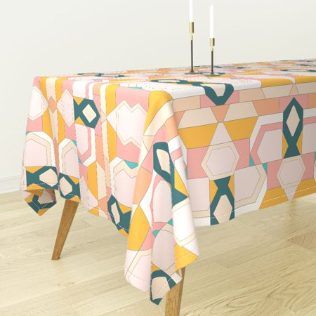Tablecloth Modern Geometric Stained Glass Art Deco Inspired Desert Cotton Sateen Art Deco Glass Table