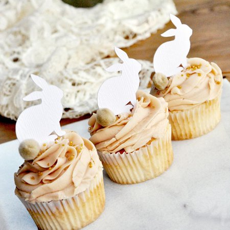 Peter Rabbit Cupcake Toppers 12CT. White Woodgrain Bunny Picks with Beige Pom Poms. Bunny Cupcake Toppers.