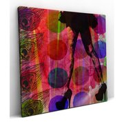 Red Noir Feather Dancing Graphic Art on Wrapped Canvas