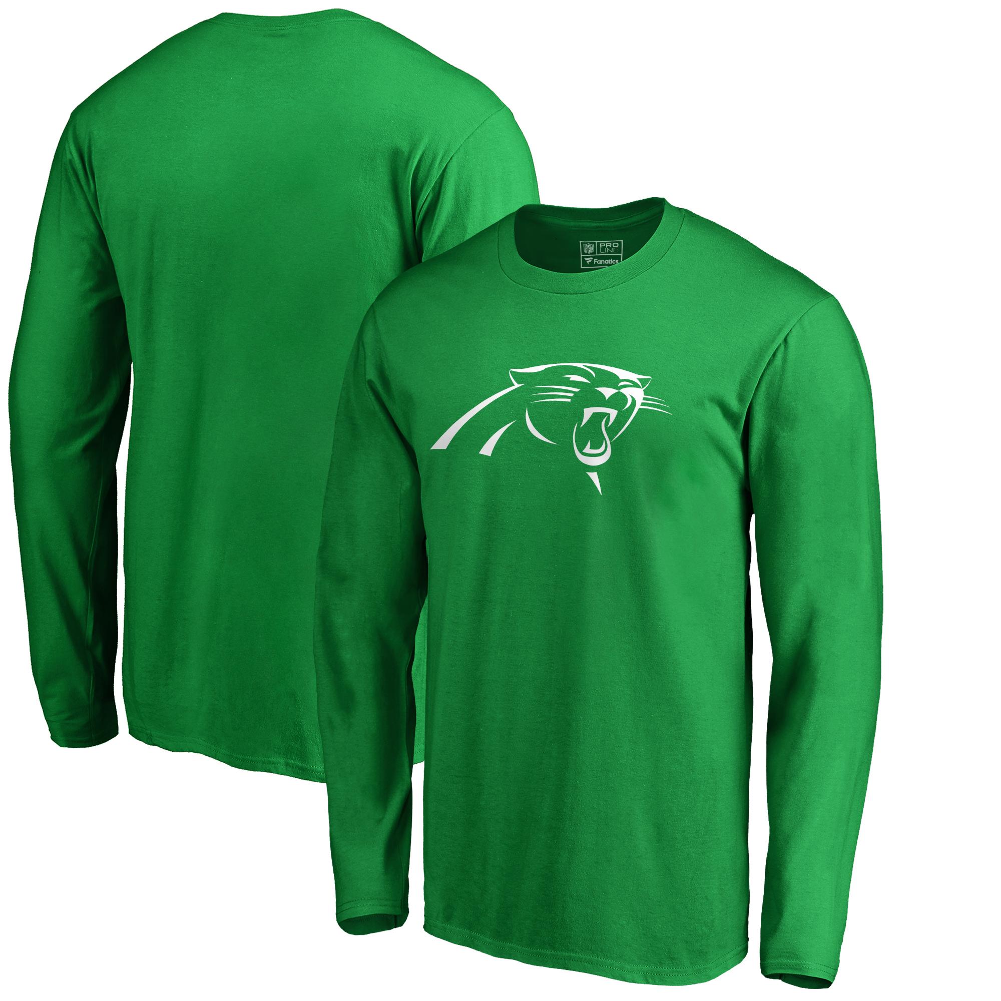 Carolina Panthers NFL Pro Line by Fanatics Branded St. Patrick's Day White Logo Long Sleeve T-Shirt - Kelly Green