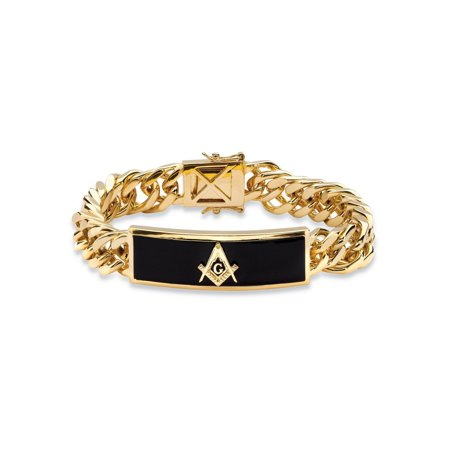 Men's Genuine Black Onyx Masonic Insignia Curb-Link Bracelet 14k Gold-Plated 8