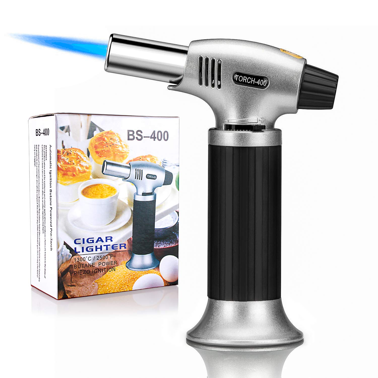 Black Culinary Blow Torch Chef Cooking Torch Lighter Refillable Cooking Butane Torch with Safety Lock and Adjustable Flame for DIY Creme Brulee Pastries Desserts Brazing Soldering Camping Barbecue