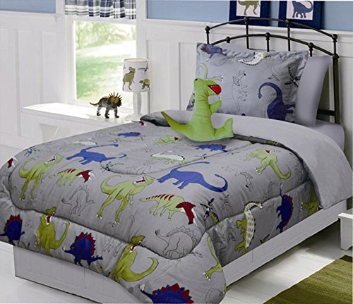 fancy linen collection 6 pc twin size dinosaur grey blue yellow kids teens comforter set