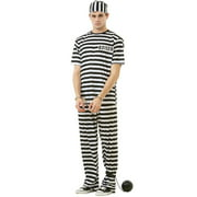 Hauntlook Classic Crook Men's Halloween Costume Jailbird Convict Striped Prisoner Jumpsuit