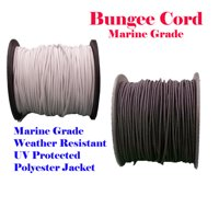 "1/8"" x 60 Ft (20 Yards) Black or White Premium Marine Grade Bungee Shock Stretch Cord UV Resitance Heavy Duty for boat Kayak"