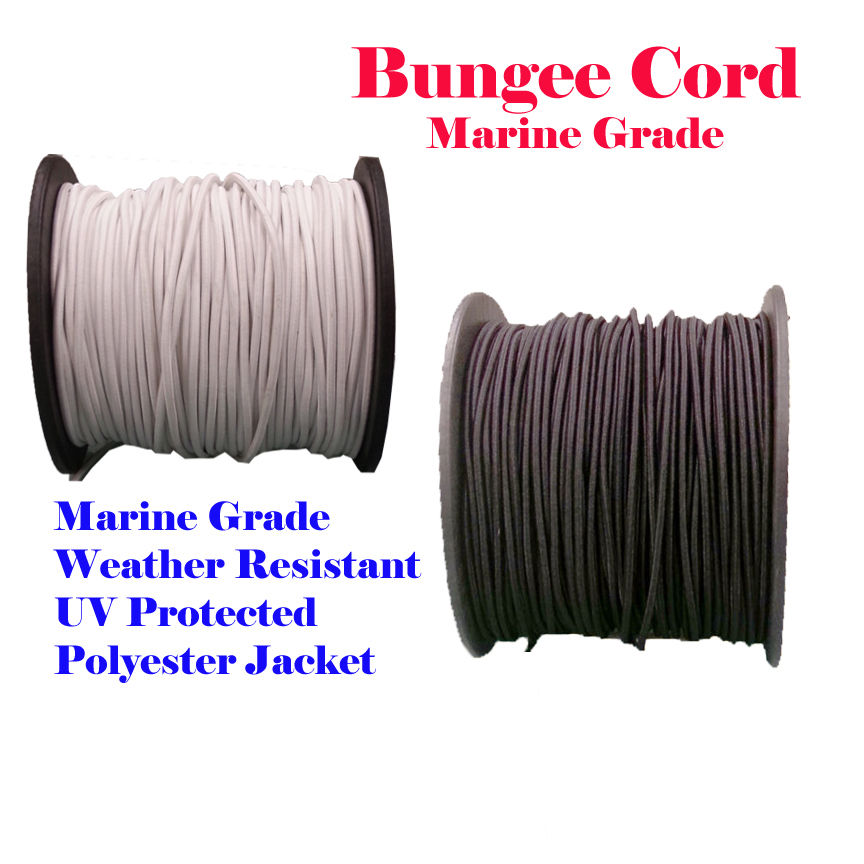 "1/4"" x 30 Ft (10 Yards) Ft Black or  White Premium Marine Grade Bungee Shock Stretch Cord UV Resitance Heavy Duty for boat Kayak"
