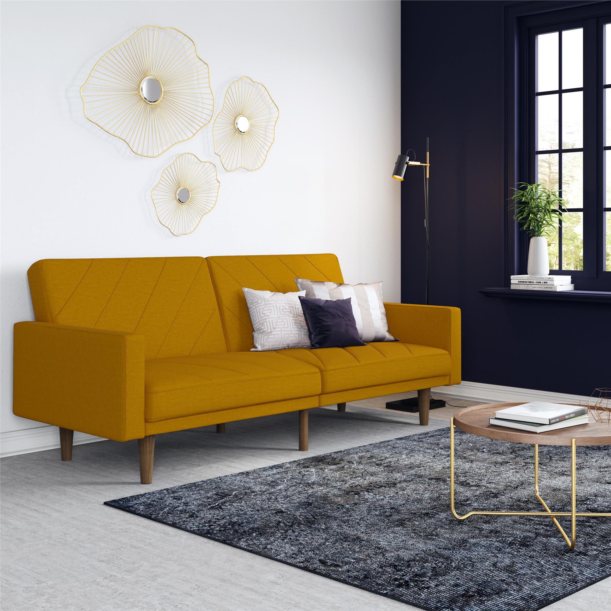 DHP Modern Retro Paxson Sofa Bed, Mustard Yellow - Walmart.com - Walmart.com
