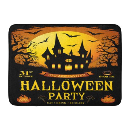GODPOK Black Halloween Trick Treat Happy Haunted House Party with Pumpkins Tree in Front of Scary Castle Yellow Rug Doormat Bath Mat 23.6x15.7 inch](Scary Halloween Front Door)