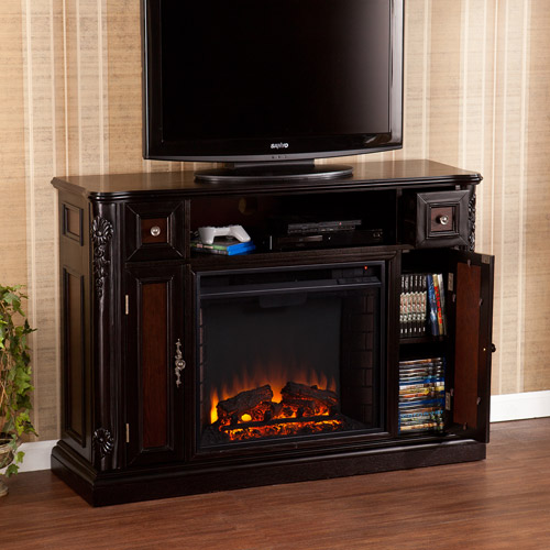 """Marianna Media Console and Electric Fireplace, for TV's up to 46"""", Ebony"""
