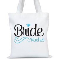 """Personalized Diamond Bridal Tote Bag, Sizes 11"""" x 14"""" and 14.5"""" x 18"""""""