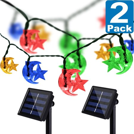 Solar String Moon Star Lights, Kasonic 20 Ft 30 LED Water-Resistant Super Bright Lights Outdoor Christmas Decoration Lights for Garden, Lawn, Wedding, Patio, Party. Multicolor-2 PACK