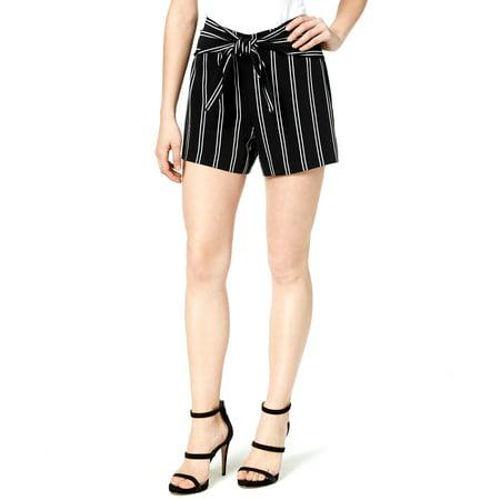 Bar III   Stripe Tie Front Short   Black