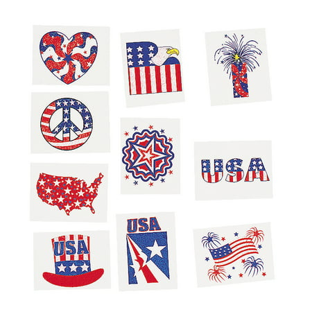 Glitter Patriotic Temporary Tattoos 72 count (6