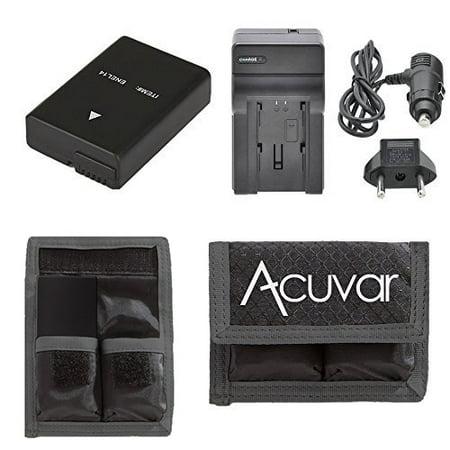 EN-EL14, EN-EL14A Rechargeable Battery + Car / Home Charger + Acuvar Battery Pouch For Nikon D5300, D5200, D3100, D5100, D3200, D3300, D3200, D3100, D5500, Df, P7100, P7000, P7700, P7800 &