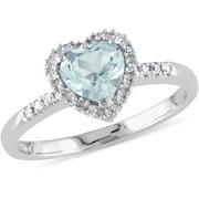 5/8 Carat T.G.W. Aquamarine and Diamond-Accent Sterling Silver Heart Ring