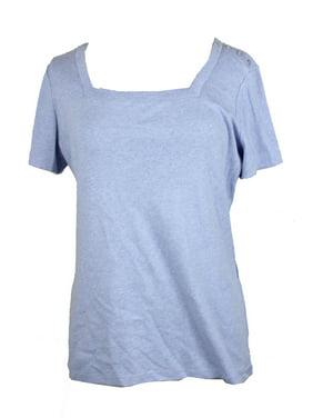 51ce004d99dd Product Image Karen Scott Light Blue Heather Short-Sleeve Square-Neck  T-Shirt XXL