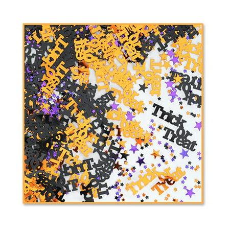 Pack of 6 Black, Orange and Purple Trick or Treat Halloween Celebration Confetti Bags 0.5 oz.