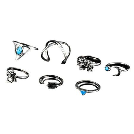 7 Pcs Women Stylish Bohemian Style Ring Retro Elegant Ring Ornament - image 2 of 7