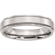 Stainless Steel Ridged-Edge 5mm Polished Band, Available in Multiple Sizes