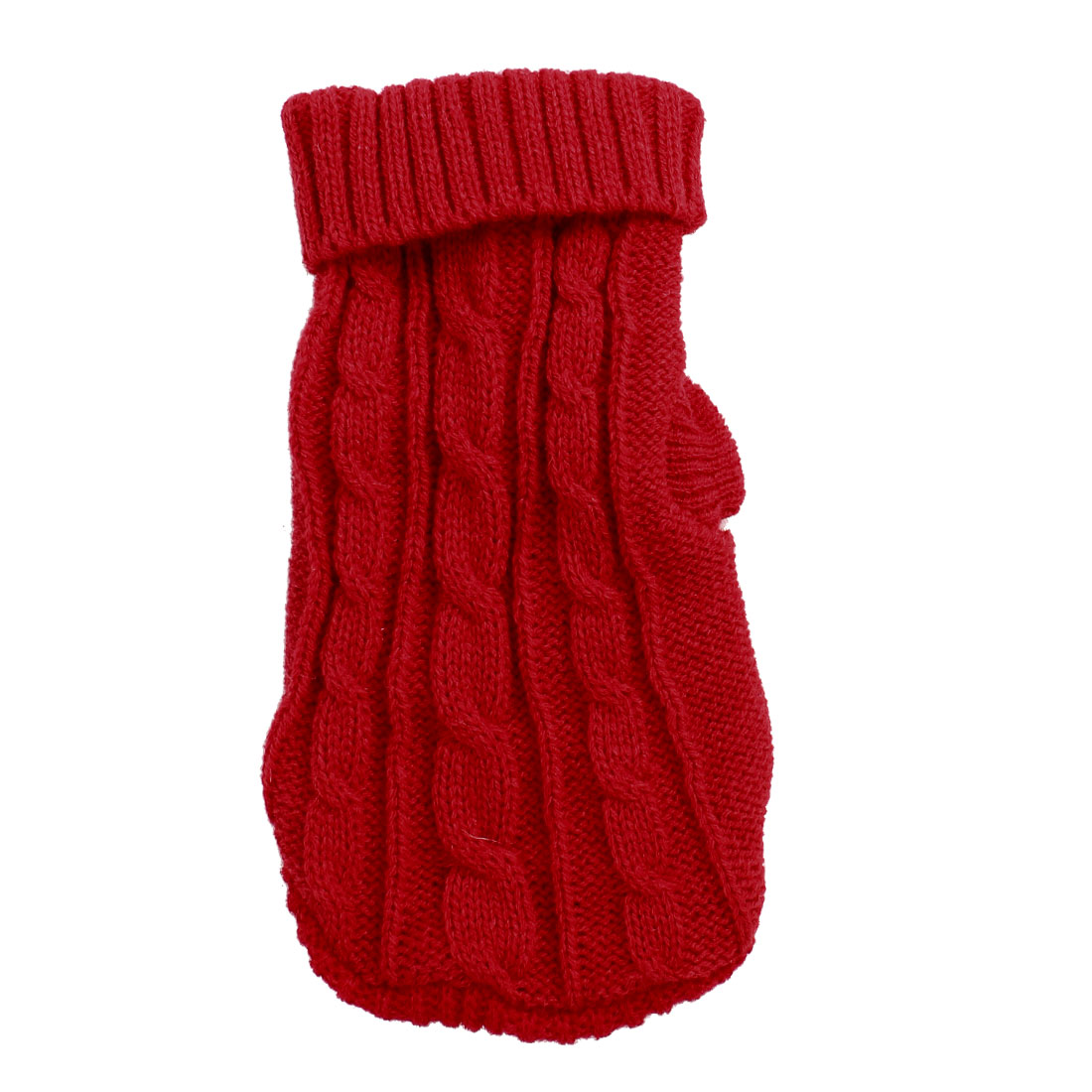 Unique Bargains Winter Warm Red Cable Knit Turtleneck Pet Dog Chihuahua Apparel Sweater Size 6