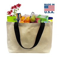 "Earthwise Reusable Grocery Bag Beach Shopping Tote Extra Large HEAVY DUTY 12 oz Cotton Canvas Multi Purpose 22"" x 15"""