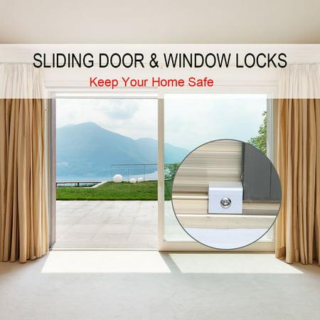 Aluminum Alloy Sliding Window Door Locks Transom Window Door Dual Screws Stopper with Key ()