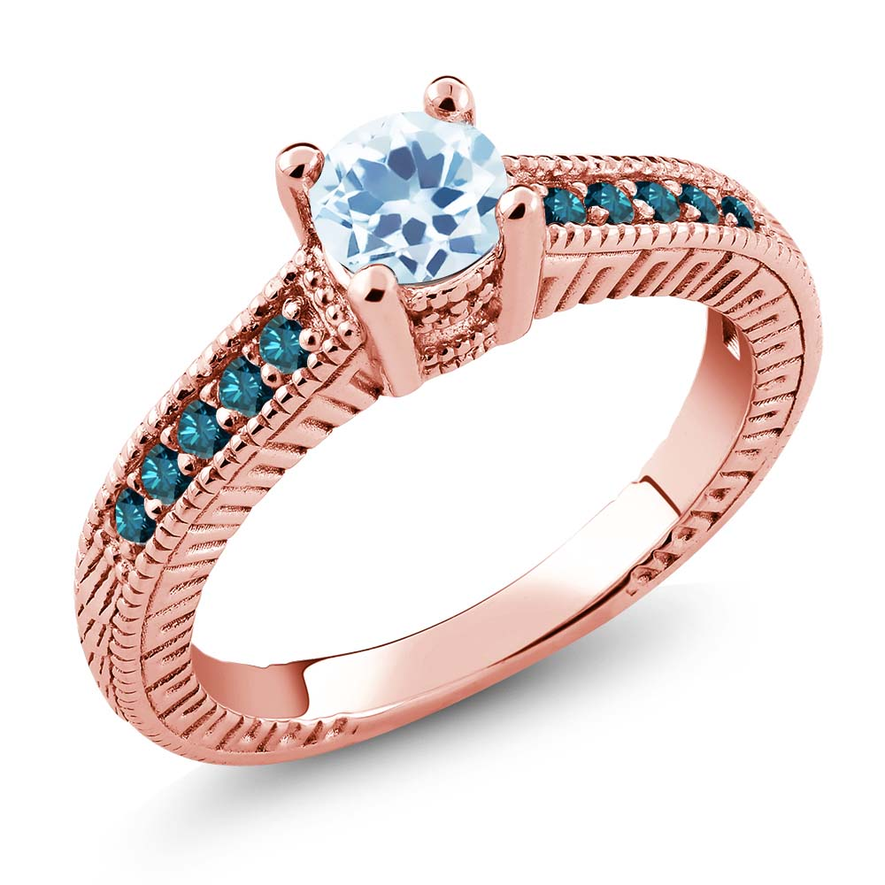 0.87 Ct Round Sky Blue Topaz Blue Diamond 925 Rose Gold Plated Silver Ring