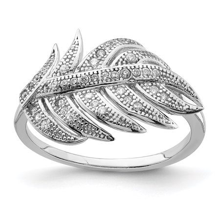 e65c2233c IceCarats - 925 Sterling Silver Cubic Zirconia Cz Leaf Band Ring ...