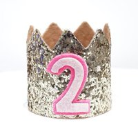 Gold Glitter Sparkles Pink 2nd Birthday Girl Hat Party Crown Toddler 2 Princess Birthday