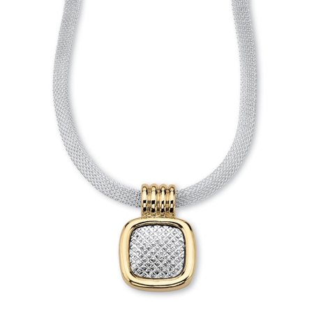 Two-Tone Gold Tone and Silvertone Diamond-Cut Pendant and Mesh Necklace