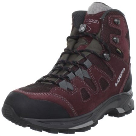 on feet shots of fashion innovative design Lowa Women's Khumbu II GTX Trekking Boot,Burgundy/Grey,7.5 M US